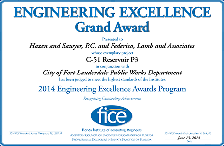 2014 Grand Award for Engineering Excellence from the Florida Institute of Consulting Engineers